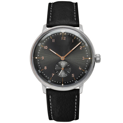 Wholesale black genuine leather alloy case male luxury brand classic simple quartz men wrist watch