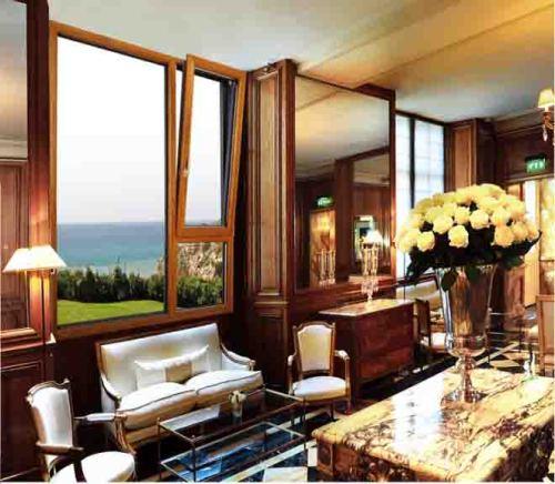 Internal And External Tilt And Turn Aluminum Wood Casement Window with HOPPE handle