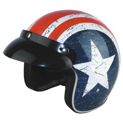 Captain America Open Face Motorcycle Helmet