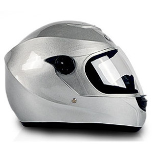 Modern Silver Full Face Motorcycle Helmet