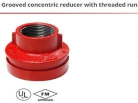 Grooved concentric reducer with threaded run