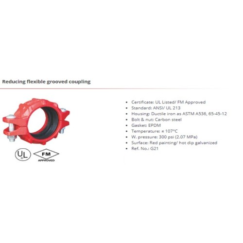 Reducing flexible grooved coupling