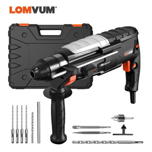 LOMVUM Electric Hammer Impact Drill Electric Pick Drill High Power Multifunctional Household Concrete Tools