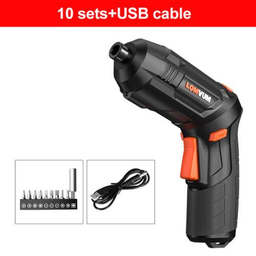 LOMVUM USB Charging Screwdriver Lithium Battery Screwdriver Hand Drill Mini Small Home Electric Screwdriver Tool Set
