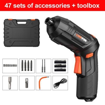 LOMVUM USB Charging Screwdriver Lithium Battery Screwdriver Hand Drill Mini Small Home Electric Screwdriver Tool Set