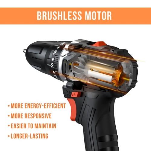 20V Electric Impact Brushless Cordless Screwdriver Mini Drill Li-Ion Lithium Battery DIY Power Tool