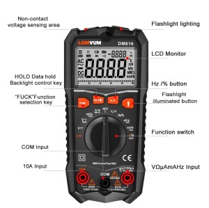 DM616/ DM66/ DM6S LOMVUM NCV Digital Multimeter 6000 counts Auto Ranging AC/DC voltage Meter Tester