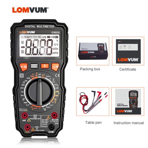 DM58/ DM68 LOMVUM NCV Digital Multimeter 5999 counts Auto Ranging AC/DC voltage Meter Current Capacitance Measuring Tester Voltage