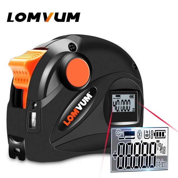 LOMVUM Rechargeable USB Charging Digital Tape Measure 5m LCD Digital Display Laser Range Finder 5M laser distance meter