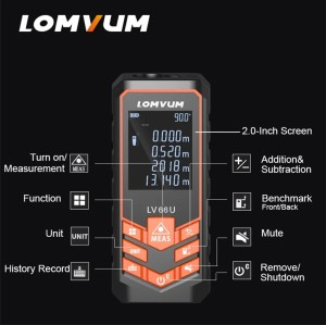 LOMVUM 66U Battery-Powered Auto Level Finder Multifunction Distance Meter Night Vision Laser Rangefinder Measurement Tool