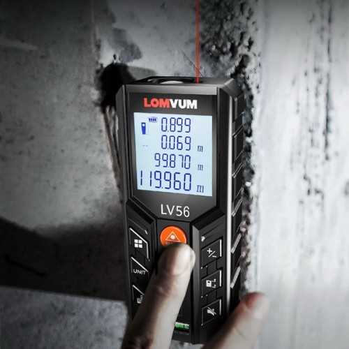 LOMVUM LV56 Laser Distance Meter Rangefinder Laser Tape Measure  Laser Tape Roulette Angle Measurement Ruler