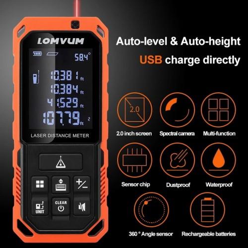 LOMVUM Usb Tester LD Series Rangefinders Digital Auto Level Laser Distance Meter Type High Precision Instruments