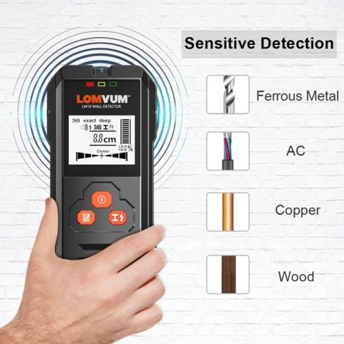LOMVUM LW10 Multi-Functional Digital Metal Wall Detector Scanner Wiring Wood AC Voltage Live Handheld LCD Screen Stud Finder