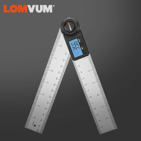 LOMVUM 0-200mm Digital Protractor Angle Ruler Angle Finder Stainless Steel 360 Degree Goniometer Inclinometer Measuring Tools