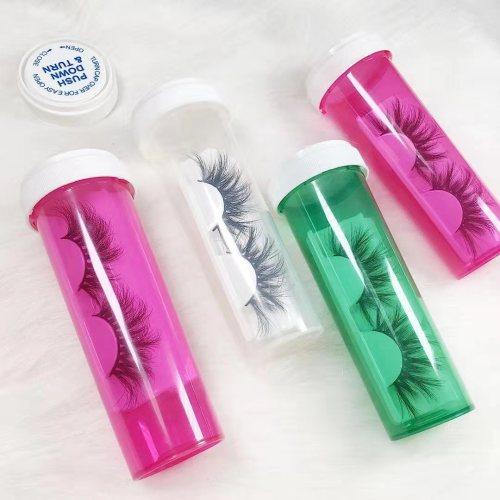 Wholesale customization Pill bottle mink lashes 25mm eyelashes 3d medicine bottle With Custom box.