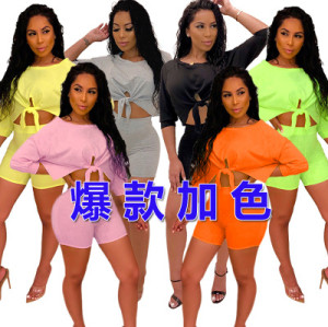 New European and American women's fashion casual sports suit two-piece suit