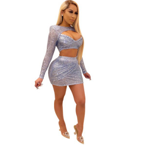 European and American women's sequin nightclub two-piece suit