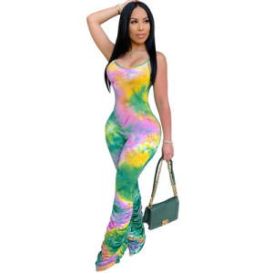 European and American hot sale women's sexy sling tie-dye jumpsuit 3561