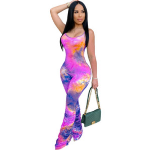 European and American hot sale women's sexy sling tie-dye jumpsuit 3561
