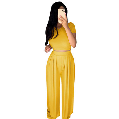 Hot New Products in Europe and America Ladies Casual Suit Wide Leg Pants Two-piece Set 3608