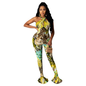 2020 European and American women's digital printing horn jumpsuit Tie-dye jumpsuit