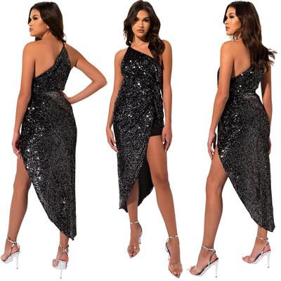European and American women's sequin sexy irregular dress