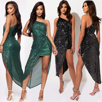 European and American women's sequin sexy irregular dress