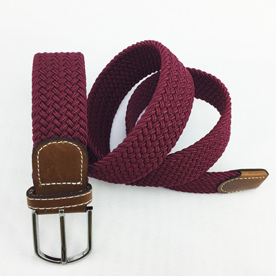 Custom Extra Long Men Casual Knitted Fabric Woven Braided Elastic Stretch Belt for Jeans