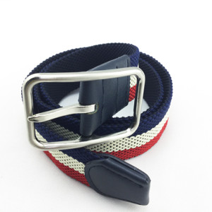 Braided Elastic Woven belt With Shinny Silver Buckle For Man