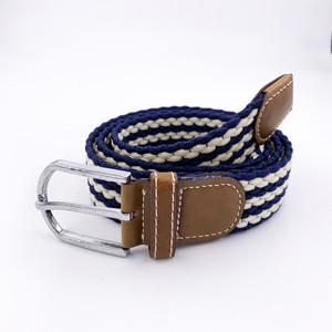 Casual Alloy Pin Buckle Multi Color Braided Elastic Belt
