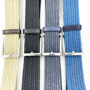 Custom Colorful Elastic Belt Unisex Wax Rope Braided belt With Genuine Leather Tip End