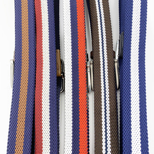Men Double Layer Braided Fabric Belts With Leather Trim Stitching