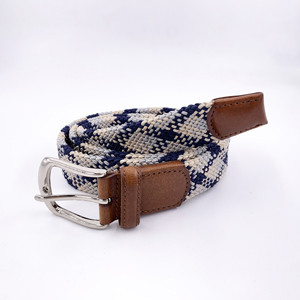 Top Quality Soft Elastic Braided Woven Silk Fabric Double Layer Elastic Belt for Men