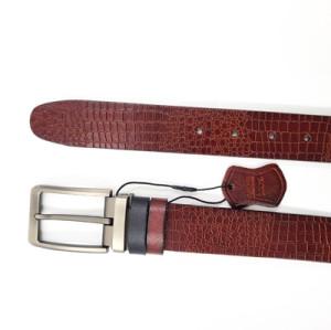 Custom Logo Top Quality Alloy Buckle Alligator Crocodile Genuine Leather Belt Cowhide for Men