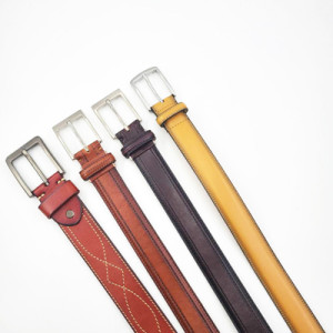 New Arrival Fashion Engraved Logo Genuine Leather Belt For Men