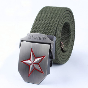 Hot Sale Retro Leather Alloy Buckle Breathable Canvas Belt