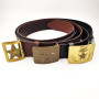 Customize Genuine Leather Wide Belt Straps Cross Military Pin Buckle Brown Belt