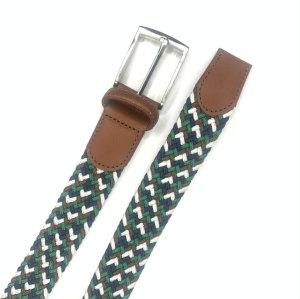 Hanjun Elastic Braided Belts for Men,Genuine Leather Stretch Woven Belt