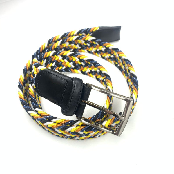 High Quality Braided Stretch Belts for Men,Genuine Leather Elastic Fabric Woven Webbing Belt