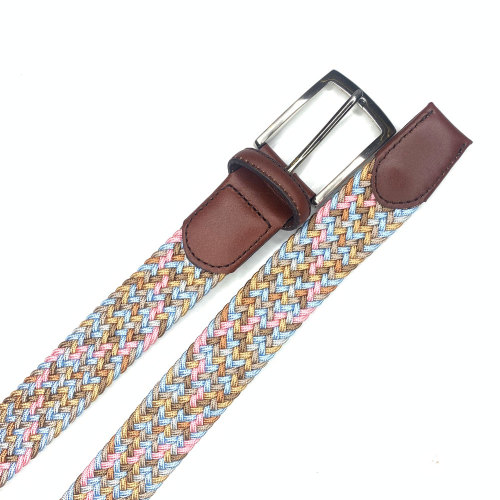 Women's Braided Elastic Stretch Belt Leather Tipped End and Metal Buckle