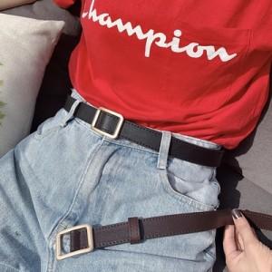 Non-hole square buckle ladies belt female simple ins wind retro fashion decoration casual belt