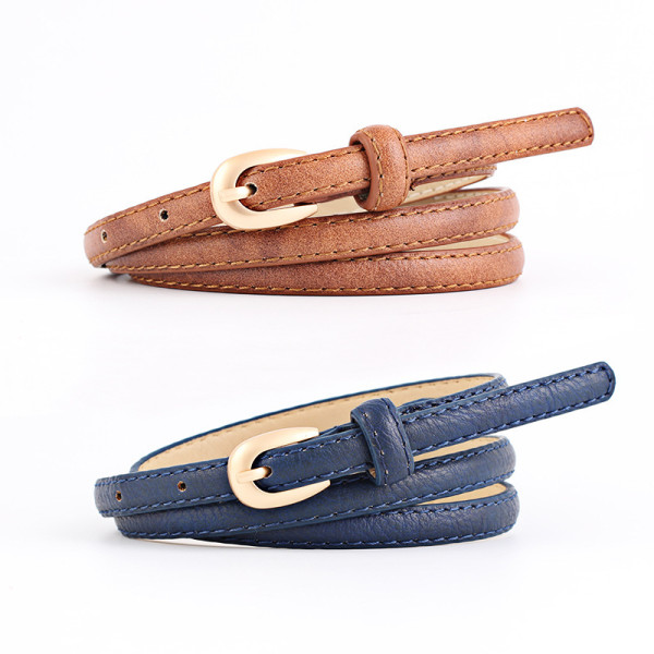 Straw woven fashion all-match belt Korean ladies square buckle round buckle simple decorative pin buckle waist seal