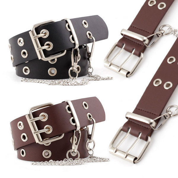 Fashion double exhaust eye chain clause Korean version of punk style ladies belt