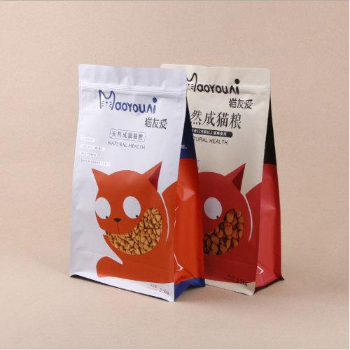 Resealable Custom Printed Shiny PET PE Plastic Bag for Cat Food Packaging