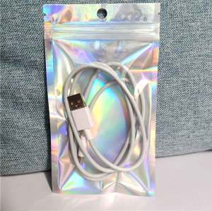 Holographic Ziplock Resealable Smell Proof Aluminum Foil Mylar Plastic Packaging Bag