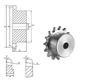 European Standard Stock Bore Sprocket 24 Stainless steel sprocket