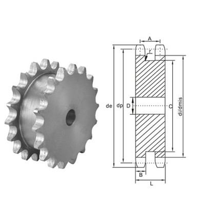 American Standard Double Sprocket for Two Single Chains 80