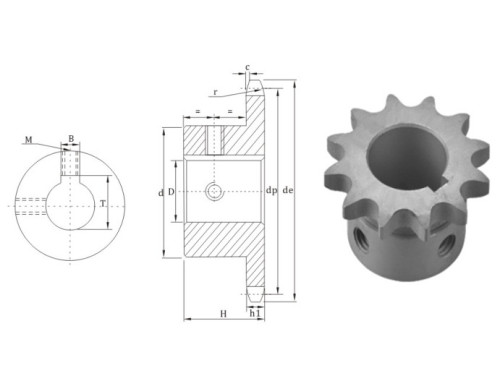 European Standard Finished bore sprocket 12BS chain sprocket