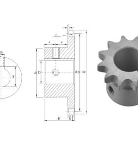 Piñón de cadena 16BS de diámetro interior acabado estándar europeo