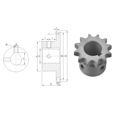 European Standard Finished bore sprocket 16BS chain sprocket